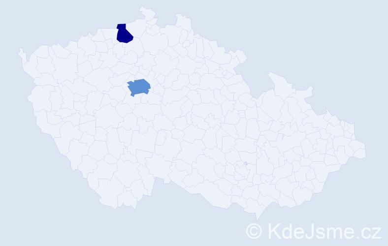 Příjmení: 'Anyaegbunam', počet výskytů 4 v celé ČR