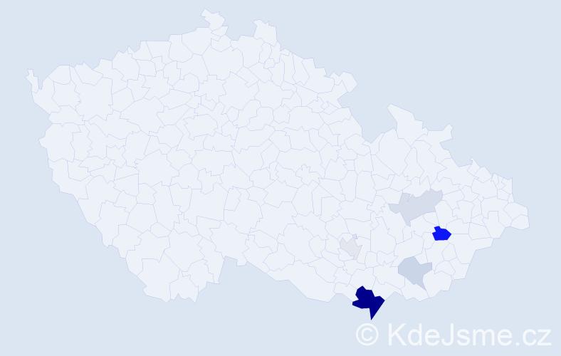 Příjmení: 'Jáchymková', počet výskytů 15 v celé ČR