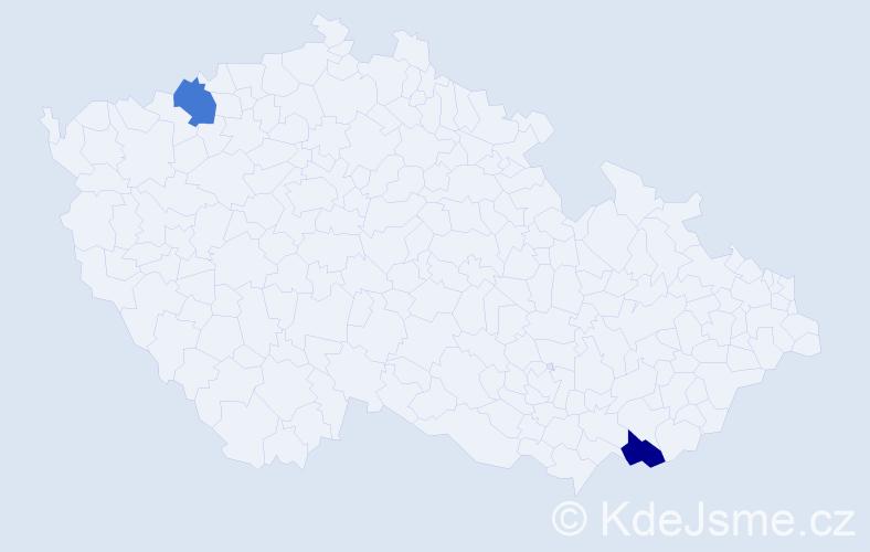 Příjmení: 'Davyďuk', počet výskytů 2 v celé ČR