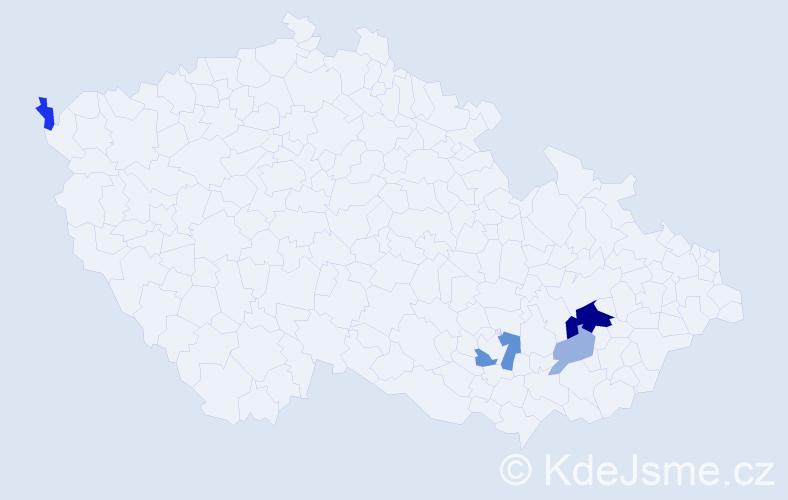 Příjmení: 'Kadák', počet výskytů 10 v celé ČR