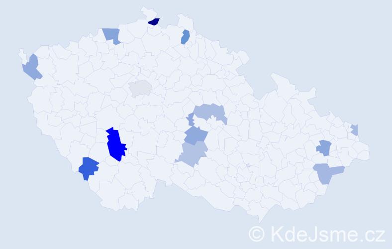 Příjmení: 'Barborík', počet výskytů 20 v celé ČR