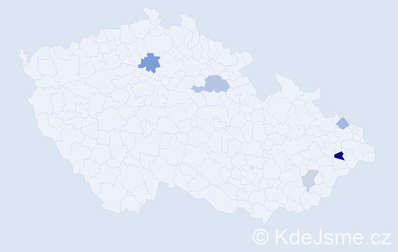 Příjmení: 'Bajánková', počet výskytů 9 v celé ČR