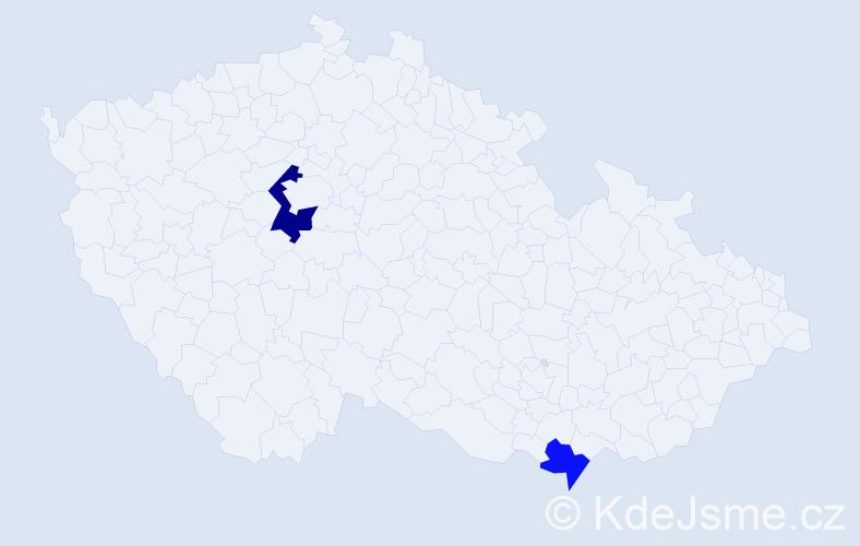Příjmení: 'Gubáň', počet výskytů 3 v celé ČR