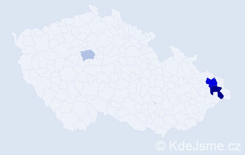 Příjmení: 'Golaň', počet výskytů 4 v celé ČR