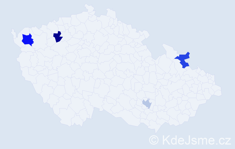 Příjmení: 'Derer', počet výskytů 5 v celé ČR