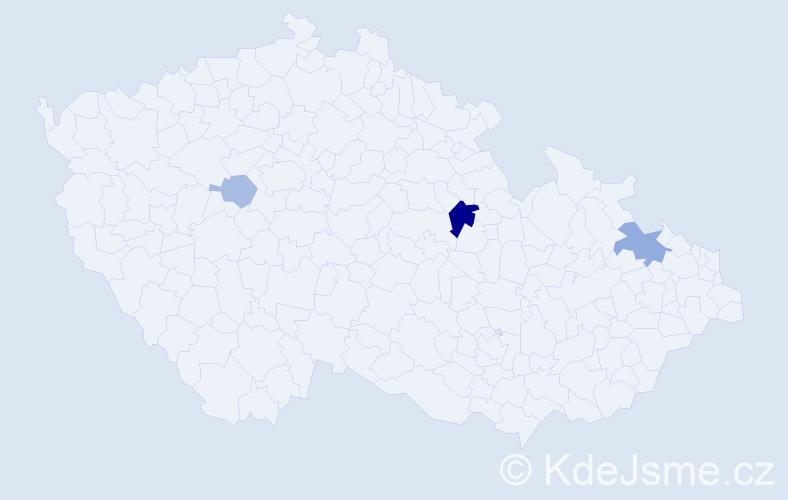 Příjmení: 'Fráner', počet výskytů 7 v celé ČR