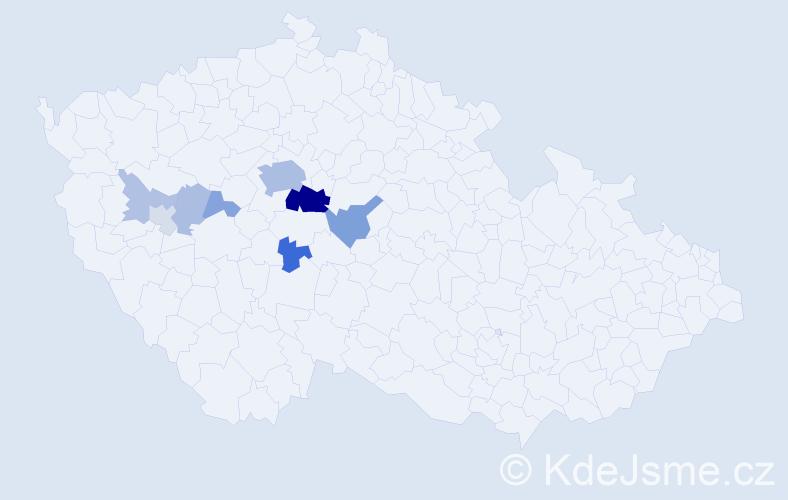 Příjmení: 'Čadina', počet výskytů 29 v celé ČR