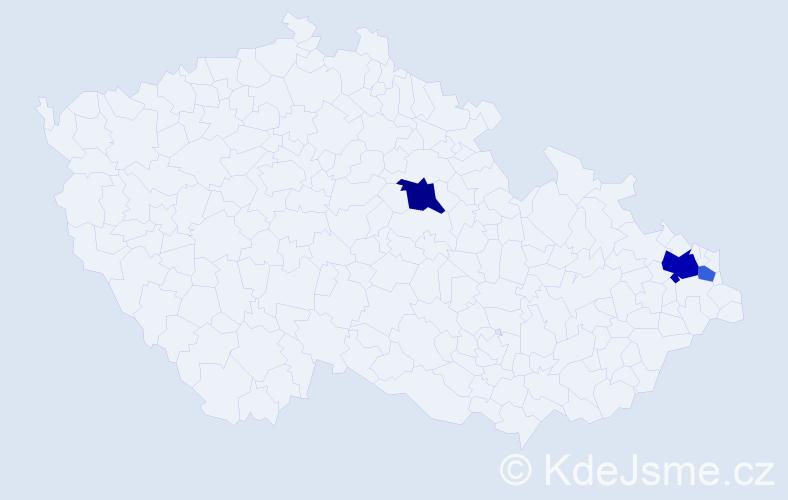 Příjmení: 'Gocman', počet výskytů 7 v celé ČR