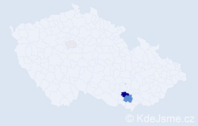 Příjmení: 'Hamerlik', počet výskytů 4 v celé ČR