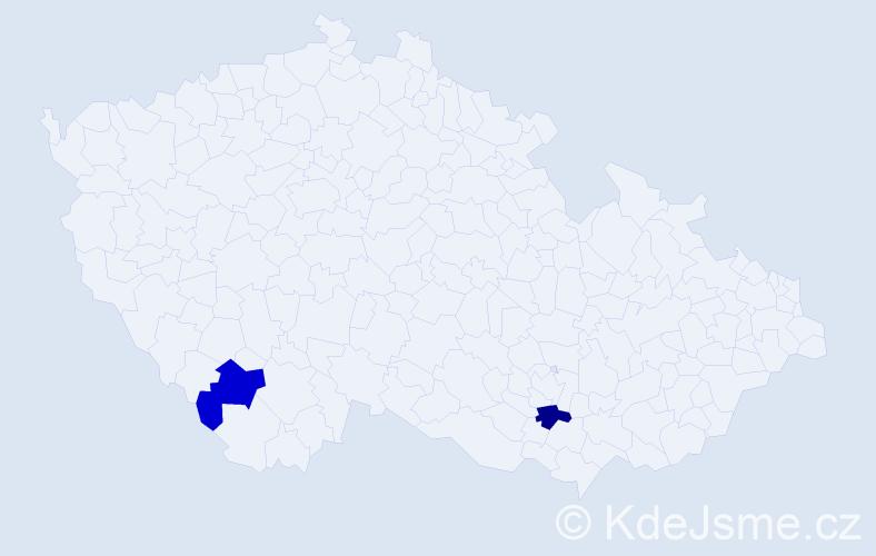 Příjmení: 'Coles', počet výskytů 2 v celé ČR
