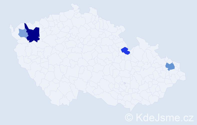 Příjmení: 'Čižnár', počet výskytů 10 v celé ČR