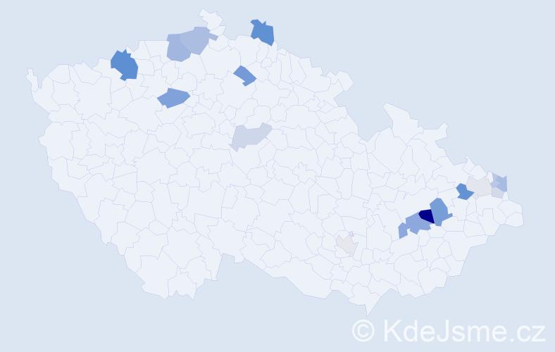 Příjmení: 'Elešová', počet výskytů 33 v celé ČR