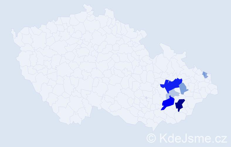 Příjmení: 'Kenša', počet výskytů 28 v celé ČR