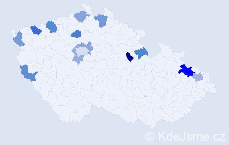 Příjmení: 'Laufková', počet výskytů 21 v celé ČR