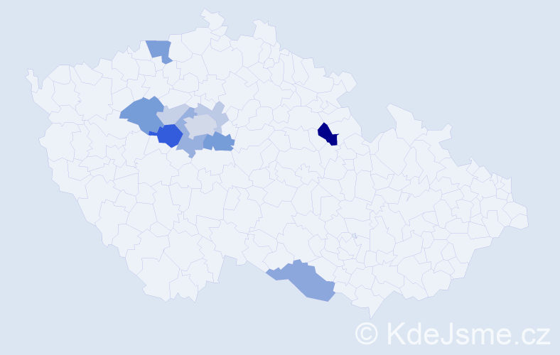 Příjmení: 'Bon', počet výskytů 25 v celé ČR