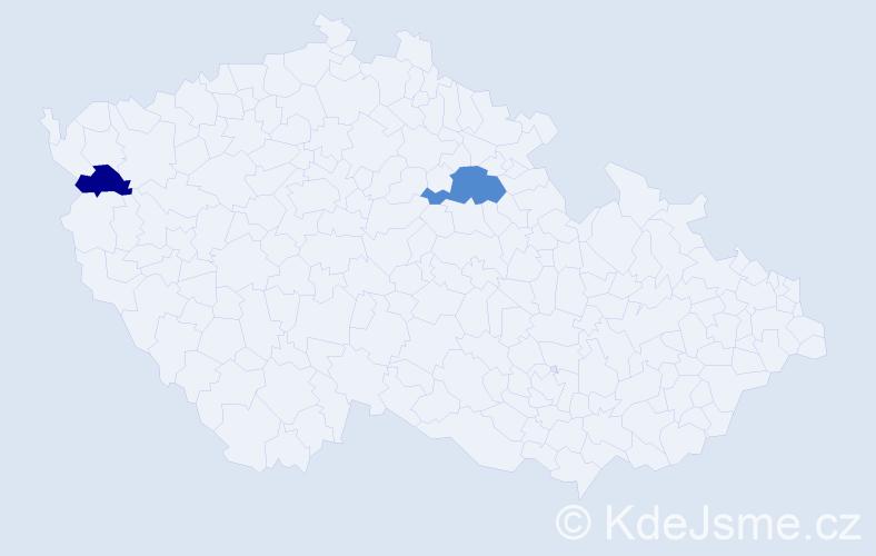 Příjmení: 'Hamaďák', počet výskytů 3 v celé ČR
