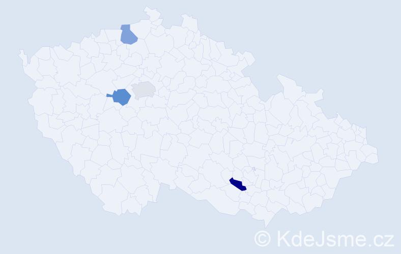 Příjmení: 'Kačeřík', počet výskytů 4 v celé ČR