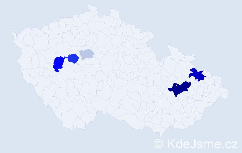 Příjmení: 'Lemr', počet výskytů 9 v celé ČR