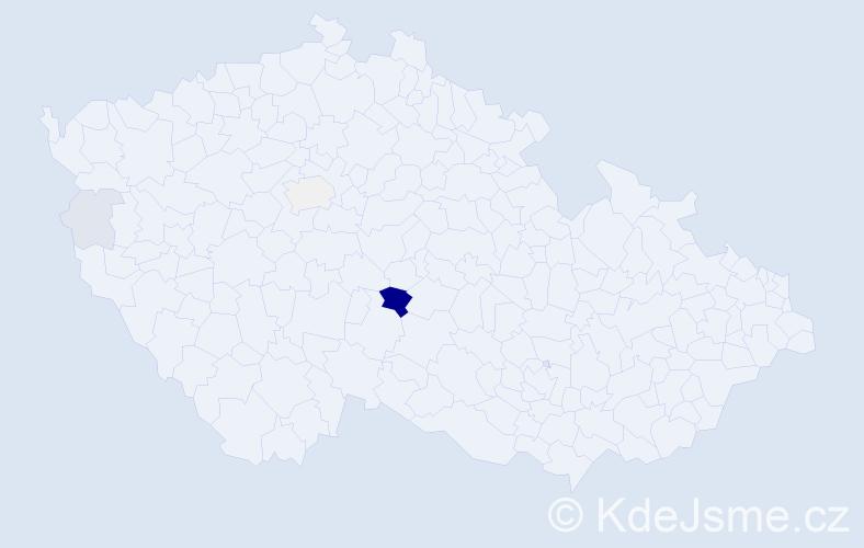 Příjmení: 'Čábera', počet výskytů 17 v celé ČR