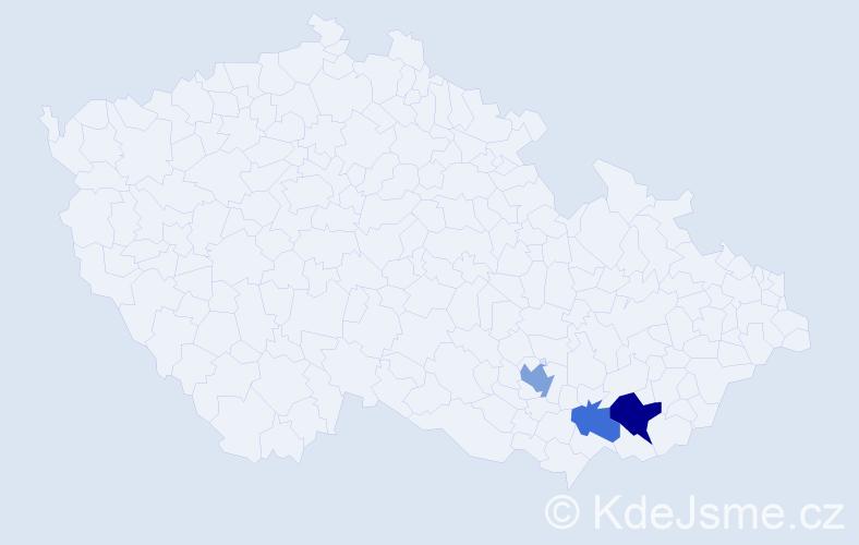 Příjmení: 'Janůšková', počet výskytů 11 v celé ČR