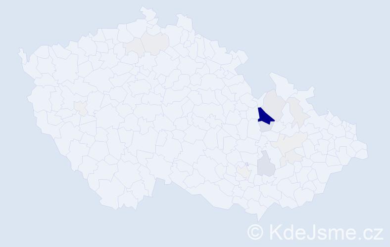 Příjmení: 'Hajtmar', počet výskytů 60 v celé ČR