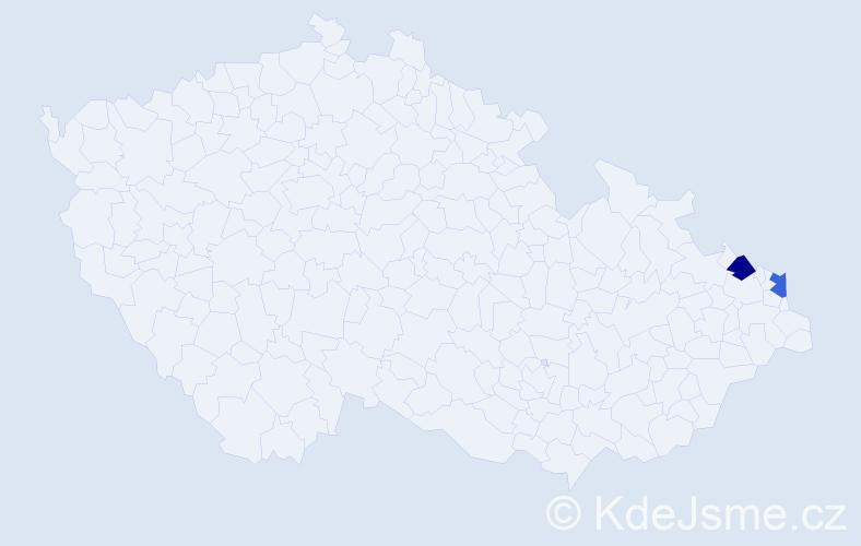 Příjmení: 'Čurová', počet výskytů 4 v celé ČR