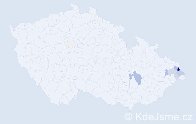 Příjmení: 'Czopniková', počet výskytů 13 v celé ČR