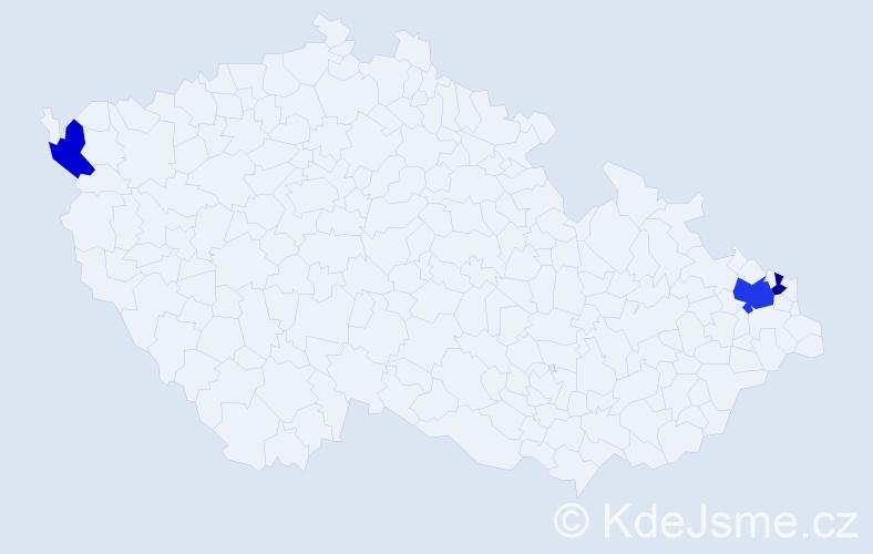 Příjmení: 'Cinik', počet výskytů 5 v celé ČR