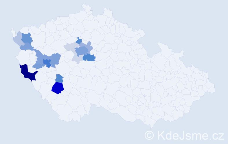Příjmení: 'Kostlivá', počet výskytů 70 v celé ČR