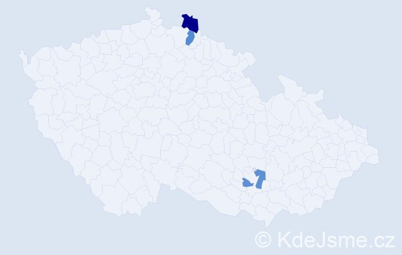 Příjmení: 'Kaňuch', počet výskytů 3 v celé ČR