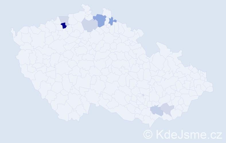 Příjmení: 'Kadaš', počet výskytů 13 v celé ČR