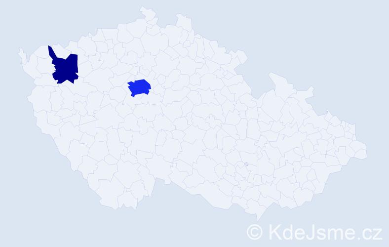 Příjmení: 'Kingham', počet výskytů 7 v celé ČR