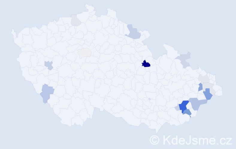Příjmení: 'Lamborová', počet výskytů 50 v celé ČR