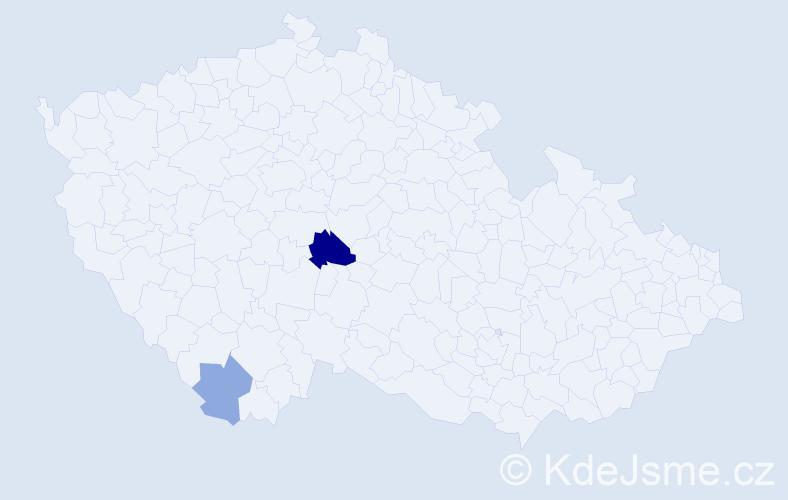 Příjmení: 'Kamau', počet výskytů 4 v celé ČR