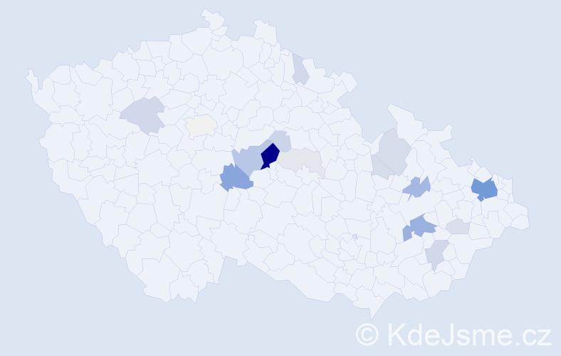 Příjmení: 'Koňak', počet výskytů 76 v celé ČR