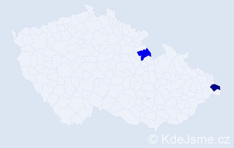 Příjmení: 'Gumola', počet výskytů 3 v celé ČR