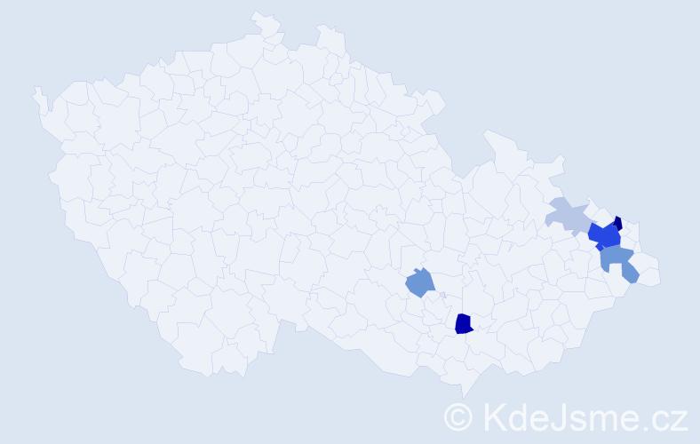 Příjmení: 'Fanfrlová', počet výskytů 23 v celé ČR
