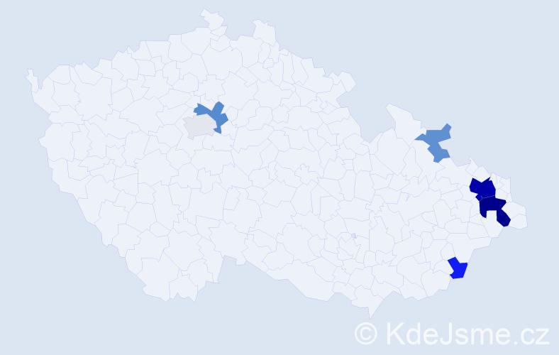 Příjmení: 'Cisovská', počet výskytů 21 v celé ČR