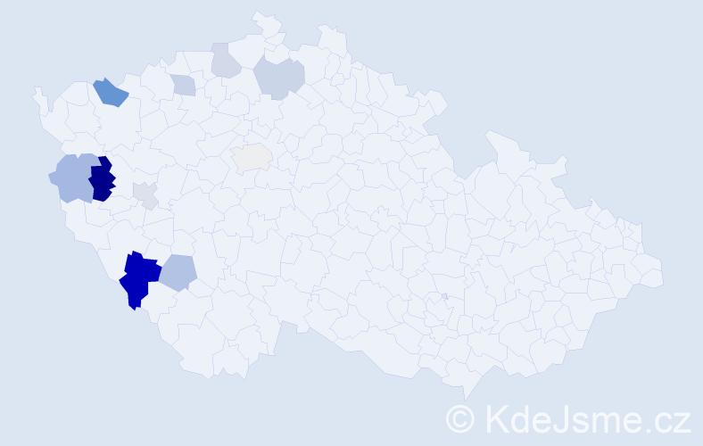 Příjmení: 'Černega', počet výskytů 16 v celé ČR