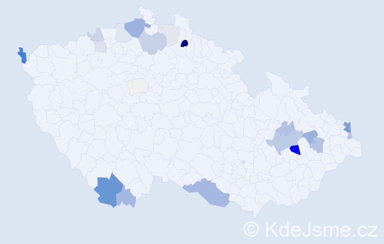 Příjmení: 'Čižmar', počet výskytů 47 v celé ČR