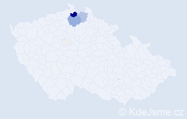 Příjmení: 'Čangelová', počet výskytů 9 v celé ČR