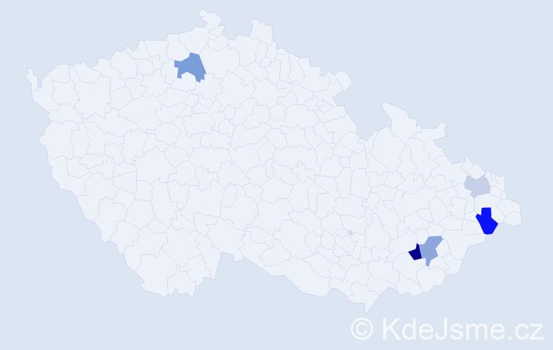 Příjmení: 'Hamele', počet výskytů 6 v celé ČR