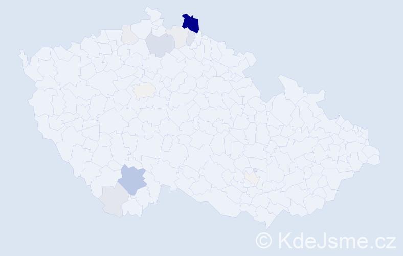 Příjmení: 'Ďuďová', počet výskytů 45 v celé ČR