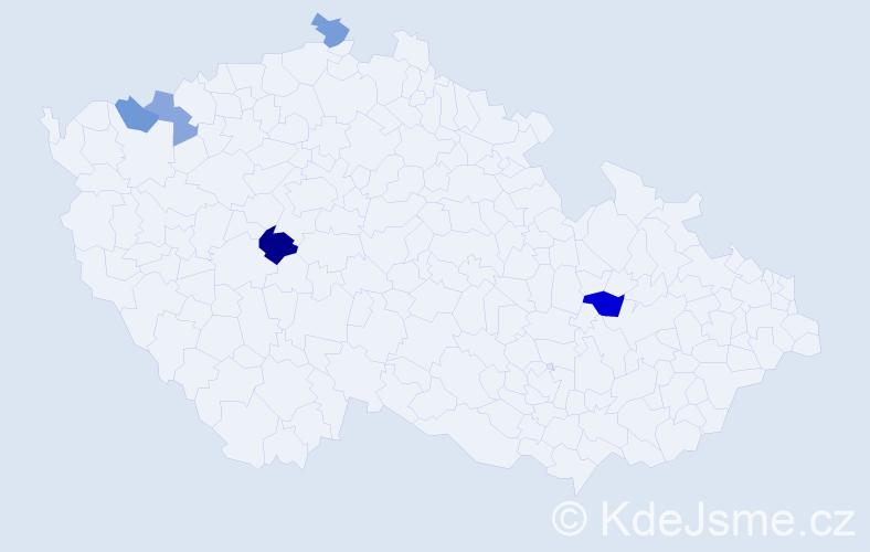 Příjmení: 'Haberman', počet výskytů 7 v celé ČR