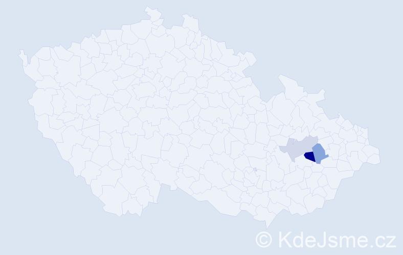 Příjmení: 'Laszab', počet výskytů 4 v celé ČR