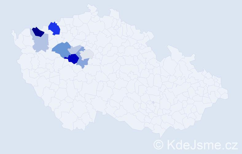 Příjmení: 'Gartová', počet výskytů 21 v celé ČR