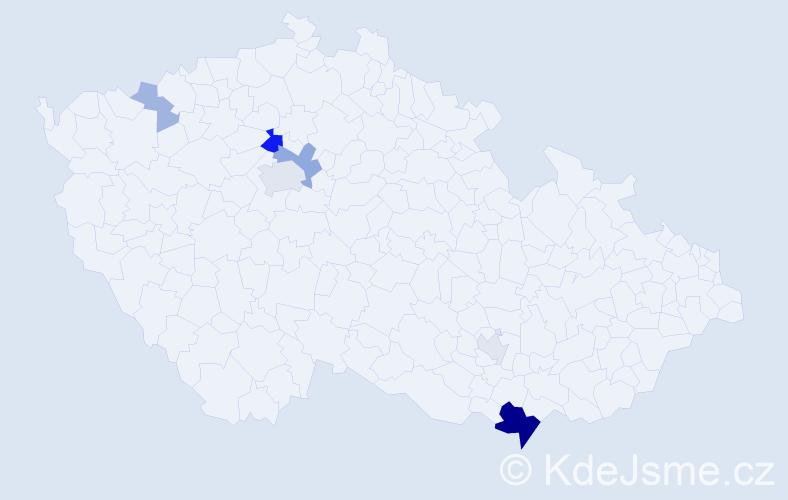 Příjmení: 'Babocká', počet výskytů 18 v celé ČR