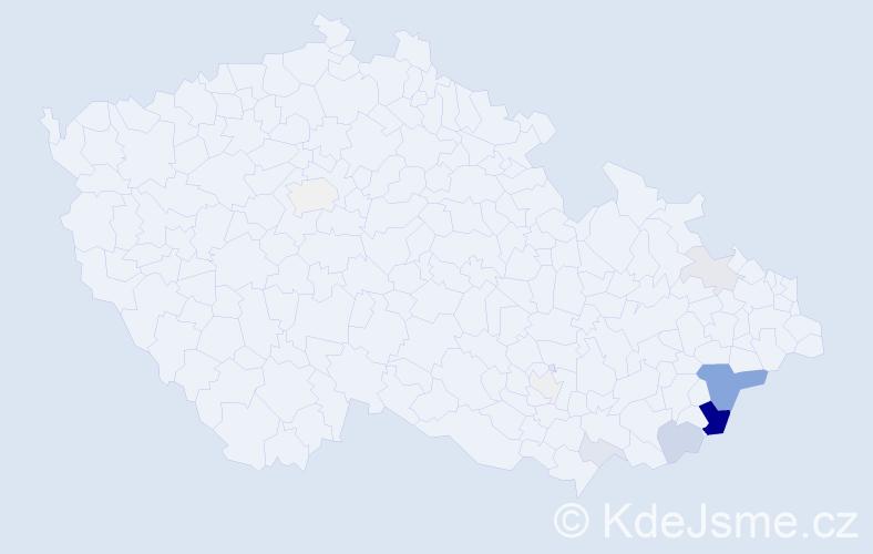 Příjmení: 'Březáčková', počet výskytů 26 v celé ČR