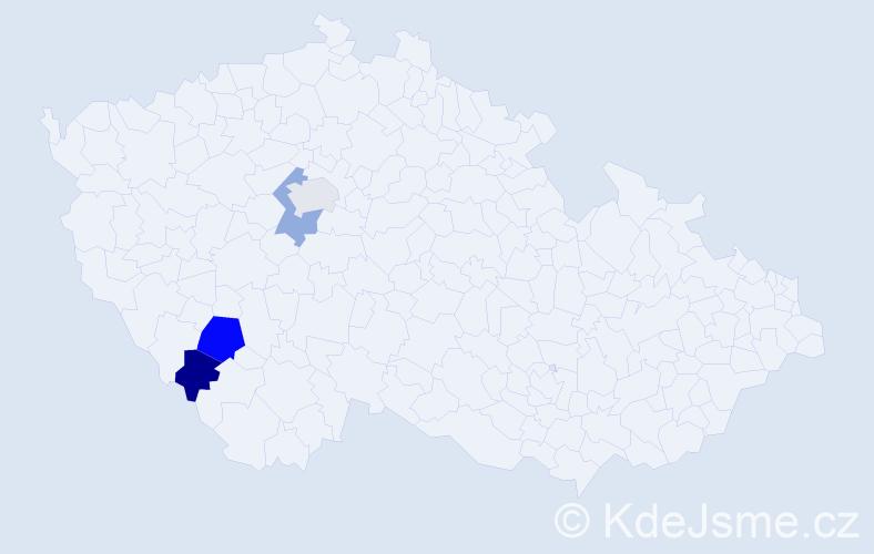 Příjmení: 'Báče', počet výskytů 5 v celé ČR