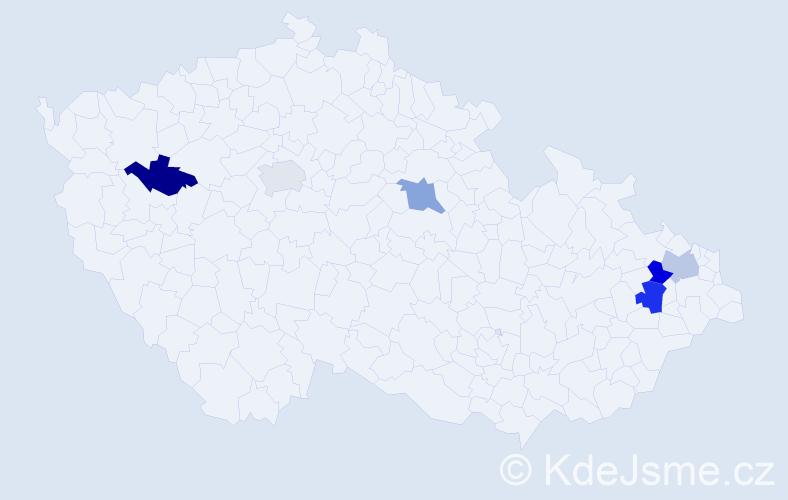 Příjmení: 'Csukásová', počet výskytů 13 v celé ČR